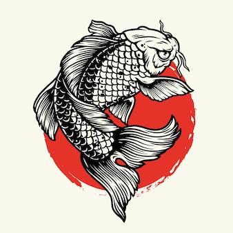 Illustration de la carpe koi sur le soleil rouge