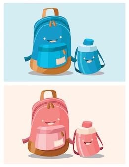 Illustration d'un cartables bleu et rose avec des bouteilles d'eau