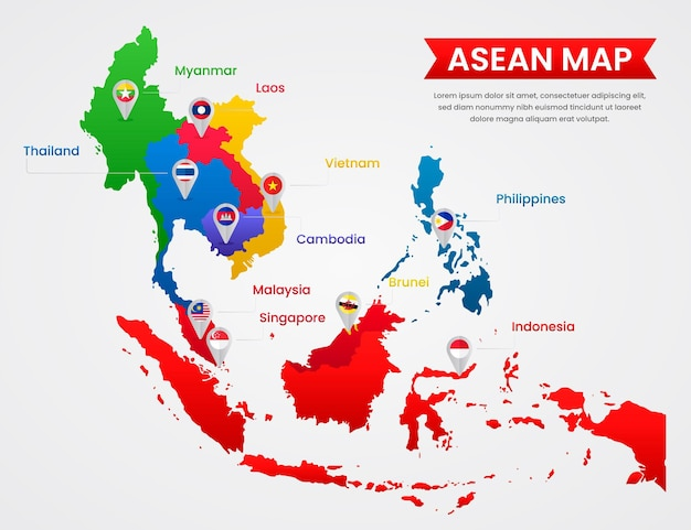 Illustration de carte asean design plat
