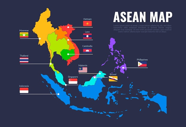 Illustration De La Carte De L'asean Vecteur Premium