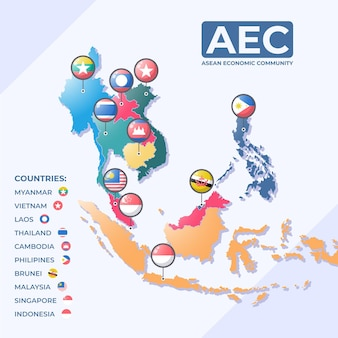 Illustration De La Carte De L'asean Vecteur gratuit