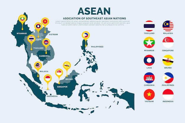 Illustration de la carte de l'asean