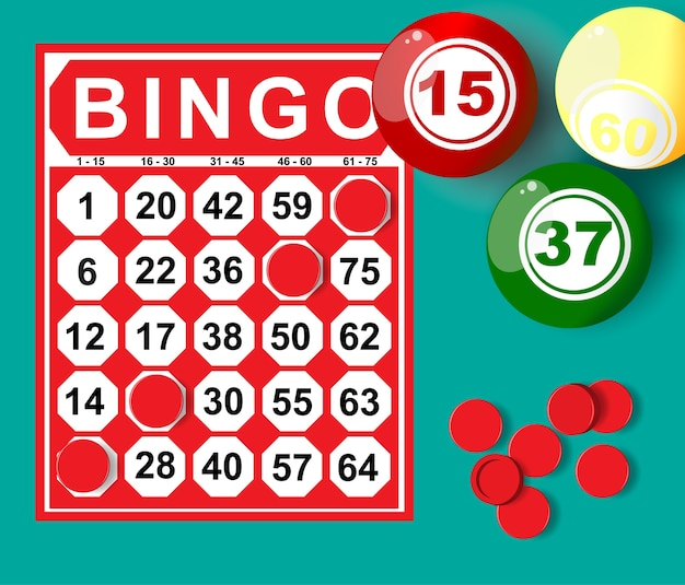 Illustration de la carte de bingo et de la balle