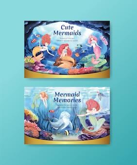 Illustration de carte avec concept de sirène, style aquarelle