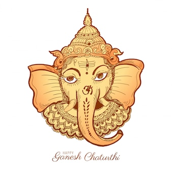 Illustration de carte de croquis happy ganesh chaturthi
