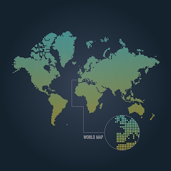 Illustration de carte du monde dégradé en pointillé