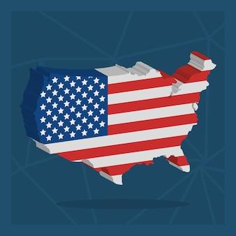 Illustration de carte des etats-unis avec la conception de drapeau