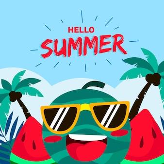 Illustration de carte d'été plat bonjour