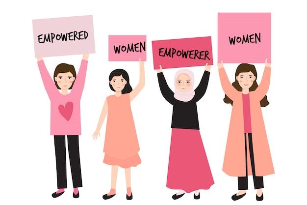 Illustration de carte de fête de la femme heureuse