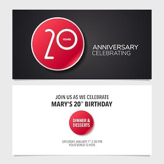 Illustration de carte d'invitation d'anniversaire de 20 ans modèle de conception graphique recto verso pour l'invitation de fête du 20e anniversaire