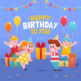 Illustration de carte de joyeux anniversaire