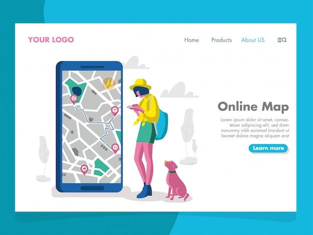 Illustration de carte en ligne pour la page de destination