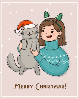 Illustration carte noël fille avec chat en bonnet de noel
