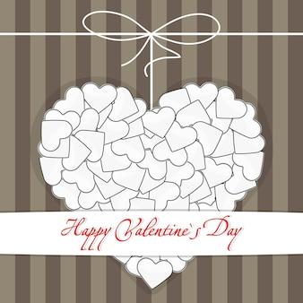 Illustration de carte postale avec coeur blanc sur un fond dépouillé