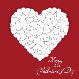 Illustration de la carte postale un grand coeur blanc fait de petits coeurs sur fond rouge