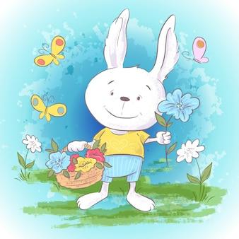 Illustration carte postale mignonne petites fleurs de lièvre et papillons.