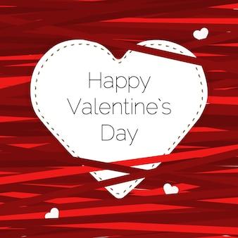 Illustration de la carte saint valentin avec coeur et rubans