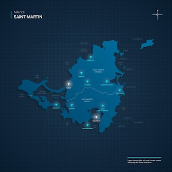 Illustration de carte vectorielle saint-martin avec points lumineux au néon bleu