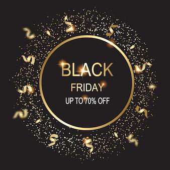 Illustration de carte vendredi noir sur fond noir.