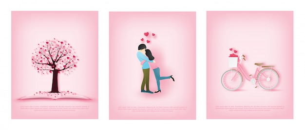 Illustration de la carte de voeux d'amour avec un amoureux s'embrassent et un vélo et arbre d'amour
