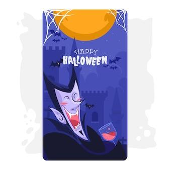 Illustration carte voeux halloween comte dracula