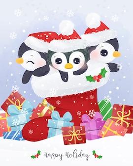 Illustration de carte de voeux de noël avec des pingouins mignons.