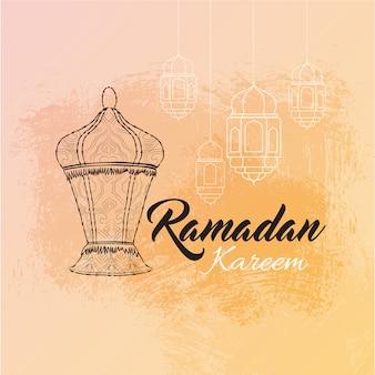 Illustration de la carte de voeux ramadan karim avec lanterne
