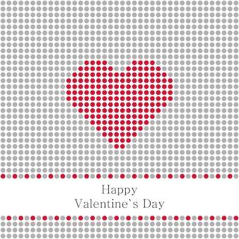 Illustration de la carte de voeux saint valentin avec cercles gris et coeur rouge