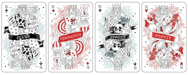 Illustration de cartes à jouer roi