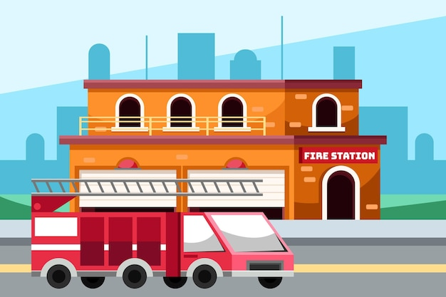 Illustration de caserne de pompiers dessinés à la main