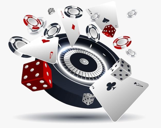 Illustration de casino avec des cartes de poker et une roue de roulette