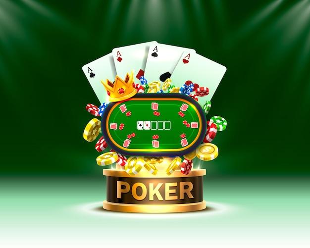 Illustration de casino de jetons et de cartes de poker.