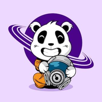 Illustration de casque astronaute mignon panda holding