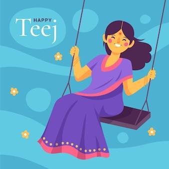 Illustration de célébration du festival teej dessinés à la main