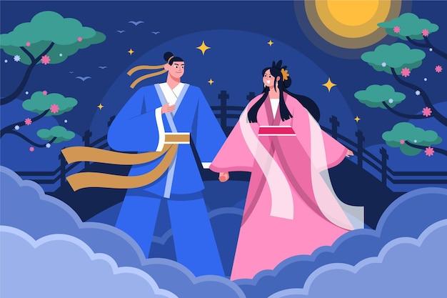 Illustration de la célébration du jour qi xi