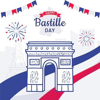 Illustration de célébration de jour de bastille dessiné à la main