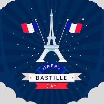 Illustration de célébration de jour de bastille plat