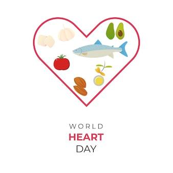 Illustration de la célébration de la journée mondiale du coeur avec stéthoscope et objet d'amour