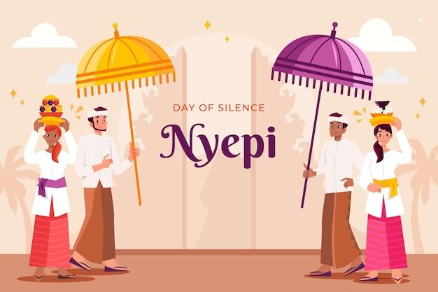 Illustration de la célébration de nyepi