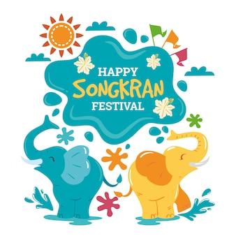 Illustration de célébration songkran dessiné à la main