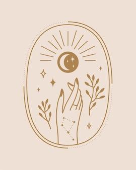 Illustration céleste des mains de sorcière dans un style bohème sur fond beige clair