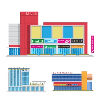 Illustration de centre commercial urbain moderne plat commercial