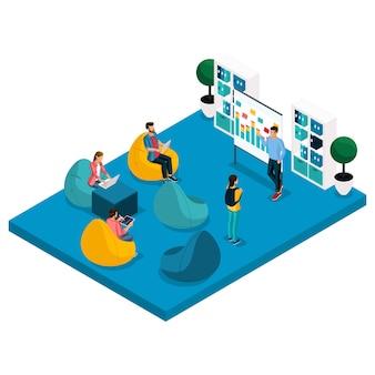 Illustration de centre de coworking isométrique