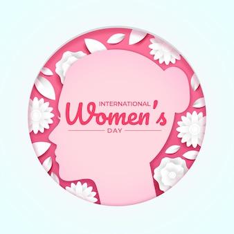 Illustration de cercle de style papier pour la journée internationale de la femme