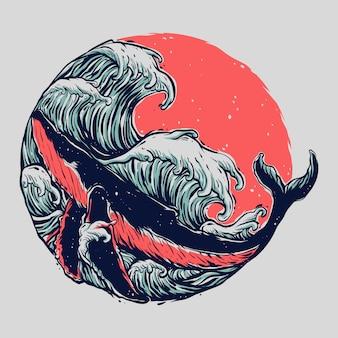 Illustration de cercle de vague