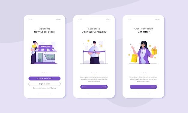 Illustration de la cérémonie d'ouverture de la boutique sur le concept d'interface utilisateur d'écran mobile à bord