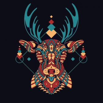 Illustration de cerf coloré mandala zentangle