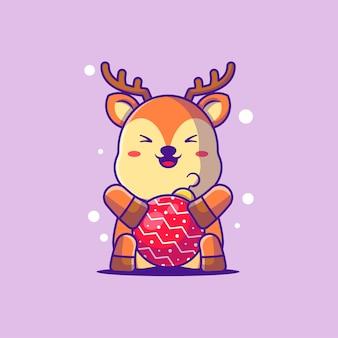 Illustration d'un cerf mignon avec des boules de noël. joyeux noël