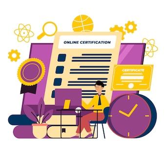 Illustration de certification en ligne avec l'homme