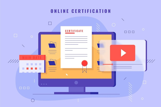 Illustration de certification en ligne avec ordinateur